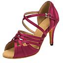hesapli Latin Dans Ayakkabıları-Kadın's Saten Latin Dans Ayakkabıları Ayrık Renkler Topuklular İnce Topuk Kişiselleştirilmiş Mor / Performans / Deri