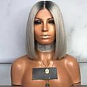 halpa Synteettiset peruukit-Naamiaistarvikkeet Suora Tyyli Otsatukalla Koneella valmistettu Peruukki Harmaa Harmaa Synteettiset hiukset 35 inch Naisten Naisten Harmaa Peruukki Lyhyt