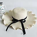 cheap Party Headpieces-Women's Active Cute Straw Straw Hat-Solid Colored Spring Summer White Beige Khaki