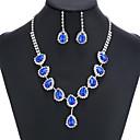povoljno Modne ogrlice-Sapphire Kristal Citrin Komplet nakita Ogrlice s privjeskom Rese Kruška dame Zabava Moda Elegantno Šarene fantazija Kubični Zirconia Imitacija dijamanta Naušnice Jewelry Zlato / Plava Za Vjenčanje