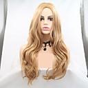 Χαμηλού Κόστους Συνθετικές περούκες χωρίς σκουφί-Συνθετικές Περούκες Βαθύ Κύμα Στυλ Κούρεμα με φιλάρισμα Χωρίς κάλυμμα Περούκα Χρυσό Ξανθό Συνθετικά μαλλιά 16 inch Γυναικεία Γυναικεία Χρυσό Περούκα Μακρύ Sylvia 130% Ανθρώπινο πυκνότητα των τριχών