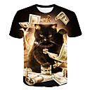 זול טבעות לגברים-חיה צווארון עגול בסיסי / סגנון רחוב מועדונים טישרט - בגדי ריקוד גברים דפוס חתול שחור / שרוולים קצרים