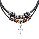 billige Herrekjeder-Herre lagdelte Hals Dobbelt Lagdelt Kors Mote PU Leather Chrome Svart 45 cm Halskjeder Smykker 1pc Til Daglig