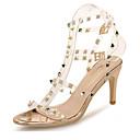 hesapli Kadın Sandaletleri-Kadın's Ayakkabı PVC Yaz Tatlı Sandaletler Stiletto Topuk Açık Uçlu Günlük / Parti ve Gece için Perçin Altın / Gümüş