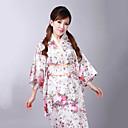 cheap Ethnic & Cultural Costumes-Adults' Women's Kimonos Japanese Traditional Kimono Jinbei Bathrobe For Halloween Daily Wear Festival Satin Kimono Coat Waist Belt