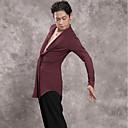 abordables Tenue de Danse Latine-Danse latine Hauts Homme Utilisation Modal Ruché Manches Longues Haut
