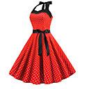 ieftine Regina Vintage-Pentru femei Elegant Linie A Rochie - Imprimeu, Buline Lungime Genunchi