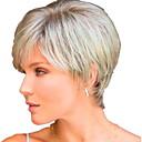 halpa Synteettiset peruukit-Naamiaistarvikkeet Suora Tumman harmaa Otsatukalla Vaalea kulta Synteettiset hiukset 26 inch Naisten Naisten Tumman harmaa Peruukki Lyhyt Koneella valmistettu