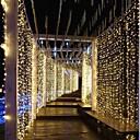 levne LED pásky-3m * 3m 300 LED záclonová svítidla ponorná modrá vícebarevná bílá strana ozdobná spojka 220-240 v 1ks