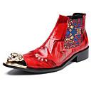 billige Herrestøvler-Herre Formell Sko Nappa Lær Høst vinter Fritid / Britisk Støvler Hold Varm Ankelstøvler Rød / Fest / aften / Fest / aften / Fashion Boots / Combat-boots