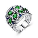 billige Motering-Dame Band Ring Ring Set Kubisk Zirkonium 1pc Grønn Kobber Geometrisk Form Stilfull Luksus Europeisk Bryllup Gave Smykker Klassisk Blomst Kul