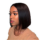 Χαμηλού Κόστους Περούκες από Ανθρώπινη Τρίχα-Φυσικά μαλλιά Δαντέλα Μπροστά Περούκα Κούρεμα καρέ Σύντομο βαρίδι Μέσο μέρος στυλ Βραζιλιάνικη Μεταξένια Ίσια Μαύρο Περούκα 130% Πυκνότητα μαλλιών / Φυσική γραμμή των μαλλιών / 100% δεμένη στο χέρι