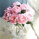 hesapli Çalar Saatler-Yapay Çiçekler 10 şube Klasik Avrupa minimalist tarzı Güller Masaüstü Çiçeği
