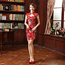 זול תלבושות אתניות ותרבותיות-מבוגרים בגדי ריקוד נשים מעוצב בסין סגנון סיני צרעה - מותניים Cheongsam עבור ארוסים מסיבה אלגנטית מסיבת רווקות תחרה כותנה מעל הברך Cheongsam