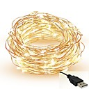 זול חוט נורות לד-5m חוטי תאורה 50 נוריות SMD 0603 לבן חם / לבן / אדום ניתן לחיתוך / Party / דקורטיבי 5 V