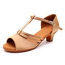 hesapli Latin Dans Ayakkabıları-Kadın's Dans Ayakkabıları Saten Latin Dans Ayakkabıları Toka Sandaletler / Topuklular Kalın Topuk Kişiselleştirilmiş Bej / Performans / Egzersiz
