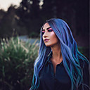 cheap Synthetic Lace Wigs-Synthetic Lace Front Wig Wavy Kardashian Style Layered Haircut Lace Front Wig Black Black / Purple Synthetic Hair 24 inch Women's Women Black / Purple Wig Long Sylvia 130% Density