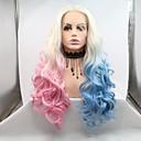 billige Syntetiske blondeparykker-Syntetisk Lace Front Parykker Krøllet / Dyb Bølge Stil Frisure i lag Blonde Front Paryk Blåt Lyseblå Syntetisk hår 24 inch Dame Dame / Ombre-hår Blåt / Pink Paryk Lang Sylvia 130% Menneskelige hår
