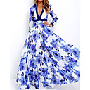 Недорогие Стикеры на стену-Жен. Элегантный стиль С летящей юбкой Платье - Цветочный принт, Цветы Цветочный Глубокий V-образный вырез Макси