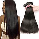 halpa Aitohiusperuukit-4 pakettia Brasilialainen Suora Käsittelemätön aitoa hiusta 100% Remy Hair Weave -paketit Hiukset kutoo Bundle Hair Aitohiuspidennykset 8-28 inch Luonnollinen väri Hiukset kutoo Hajuton Pehmeä Tulokas