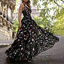 זול כפפות דופט יוקרה-גזרת A צווארון V עד הריצפה אורגנזה / טול שמלה עם ריקמה / דוגמא \ הדפס על ידי LAN TING Express