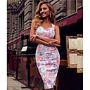 abordables Sandales pour Femme-Femme Midi Mince Courte Robe - Fleur Imprimé, Fleur A Bretelles Printemps Eté Automne Bleu Vert Blanc M L XL Sans Manches