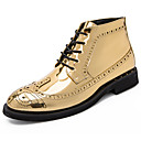cheap Men's Boots-Men's Fashion Boots Patent Leather Fall & Winter Casual / British Boots Warm Booties / Ankle Boots Color Block Gold / Black / Silver / Party & Evening