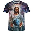 abordables Talkie-walkie-Tee-shirt Grandes Tailles Homme, 3D / Portrait - Coton Imprimé Col Arrondi Bleu XXXXL