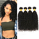 billige Parykker af ægte menneskerhår-4 pakker malaysisk hår Kinky Curly 100% Remy Hair Weave Bundles Menneskehår, Bølget Bundle Hair Hårforlængelse af menneskehår 8-28inch Naturlig Farve Menneskehår Vævninger Nyfødt Simple Lugtfri