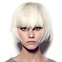 halpa Synteettiset peruukit verkolla-Synteettiset peruukit Kinky Straight Tyyli Keskiosa Suojuksettomat Peruukki Valkoinen Valkoinen Synteettiset hiukset 12 inch Naisten Color Gradient Valkoinen Peruukki Pitkä Luonnollinen peruukki