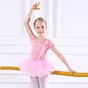 billige Dansetøj til børn-Dansetøj til børn / Ballet Kjoler Pige Træning / Ydeevne Bomuld Sløjfe(r) / Blonde / Kombination Kortærmet Naturlig Kjole