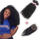 halpa Aitohiusperuukit-3 pakkausta sulkemalla Brasilialainen Kinky Curly Virgin-hius 100% Remy Hair Weave -paketit Hiukset kutoo Bundle Hair Yksi pakkaus ratkaisu 8-20 inch Luonnollinen väri Hiukset kutoo Pehmeä Tulokas