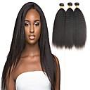 halpa Aitohiusperuukit-4 pakettia Brasilialainen Kinky Straight Virgin-hius Hiukset kutoo Bundle Hair Yksi pakkaus ratkaisu 8-28inch Luonnollinen väri Hiukset kutoo Vesiputous Cute Turvallisuus Hiukset Extensions Naisten