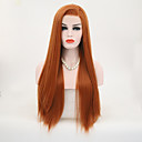 cheap Synthetic Lace Wigs-Synthetic Lace Front Wig Straight Style Side Part Lace Front Wig Brown Orange Synthetic Hair 24 inch Women's Adjustable / Heat Resistant / Party Brown Wig Long Natural Wigs / Yes