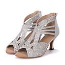 baratos Shall We® Sapatos de Dança-Mulheres Sapatos de Dança Sintéticos Sapatos de Dança Latina Recortes Salto Salto Carretel Personalizável Dourado / Preto / Prata / Espetáculo / Couro