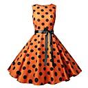 preiswerte Unterröcke für Hochzeitskleider-Damen Retro Elegant A-Linie Hülle Swing Kleid - Schleife Druck Kordelzug, Punkt Einfarbig Knielang