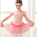 billige Dansetøj til børn-Dansetøj til børn / Ballet Kjoler Pige Træning / Ydeevne Bomuld Sløjfe(r) / Blonde / Kombination Kortærmet Kjole