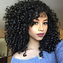 cheap Synthetic Capless Wigs-Costume Accessories / Synthetic Wig Afro Curly / Jerry Curl Style Asymmetrical Capless Wig Black Dark Black Synthetic Hair 14 inch Women's Fashionable Design / Synthetic / Natural Hairline Black Wig