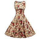 cheap Panties-Women's Vintage Swing Dress - Floral Lace up Print Light Brown L XL XXL