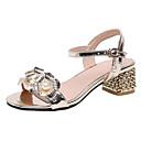 זול נעלי עקב לנשים-בגדי ריקוד נשים PU קיץ בריטי / פרפי סנדלים עקב עבה פתוח בבוהן דמוי פנינה זהב / כסף / מסיבה וערב