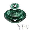cheap Vessel Sinks-Bathroom Sink / Bathroom Mounting Ring / Bathroom Water Drain Contemporary - Tempered Glass Round