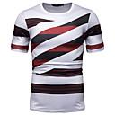billige Treningsko til herrer-Bomull Rund hals EU / USA størrelse T-skjorte Herre - Stripet / Fargeblokk / Grafisk, Lapper / Trykt mønster Rød L