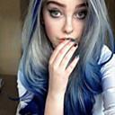 halpa Synteettiset peruukit verkolla-Synteettiset peruukit Laineita Tyyli Epäsymmetrinen leikkaus Suojuksettomat Peruukki Sininen Musta / Sininen Synteettiset hiukset 22 inch Naisten Party Sininen Peruukki Lyhyt Cosplay-peruukki