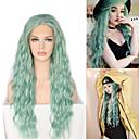 halpa Synteettiset peruukit verkolla-Synteettiset peruukit / Synteettiset pitsireunan peruukit Laineita / Loose Curl Jenner Tyyli Keskiosa Lace Front Peruukki Vihreä Mintun vihreä Synteettiset hiukset 26inch Naisten Klassinen