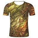 זול מגפיים לגברים-גיאומטרי / 3D / גראפי צווארון עגול צבעוני / 3D מעוקם מידות גדולות כותנה, טישרט - בגדי ריקוד גברים דפוס ירוק בהיר