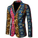 זול Building Blocks-חום מעוטר גזרה צרה כותנה חליפה - פתוח Single Breasted Two-button