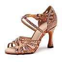 abordables Zapatos de Baile Latino-Mujer Cuero Sintético Zapatos de Baile Latino Pedrería Tacones Alto Tacón Carrete Personalizables Negro / Marrón / Rendimiento / Entrenamiento