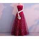 זול שמלות שושבינה-גזרת A סטרפלס עד הריצפה שיפון / נצנצים שמלה עם נצנצים על ידי LAN TING Express