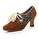 זול נעלי ריקודים ונעלי ריקוד מודרניות-בגדי ריקוד נשים נעלי ריקוד דמוי עור נעלי ג'אז עקבים עקב קובני מותאם אישית שחור / חום / הצגה / אימון
