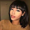 billige Lågløs-Human Hair Capless Parykker Menneskehår Naturligt, bølget hår Bob frisure Stil Simple / Sexet dame / Smuk Sort Medium Længde Lågløs Paryk Dame / Alle / Afro-amerikansk paryk / Til sorte kvinder